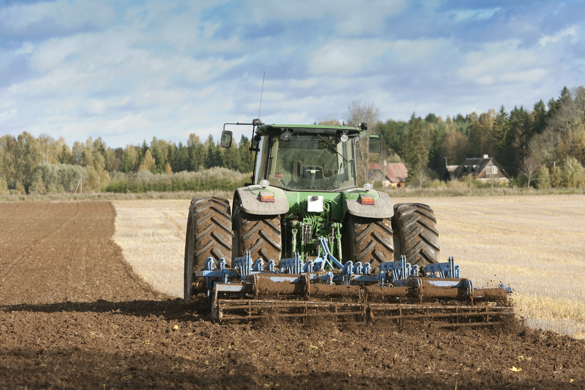 Tractor With an Aerator